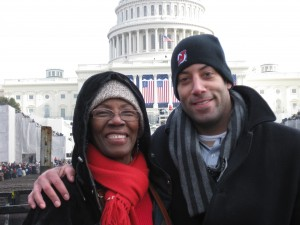 Staying Warm at the Inauguration with my Mom